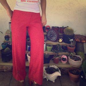 70s inspired red bell bottom pants